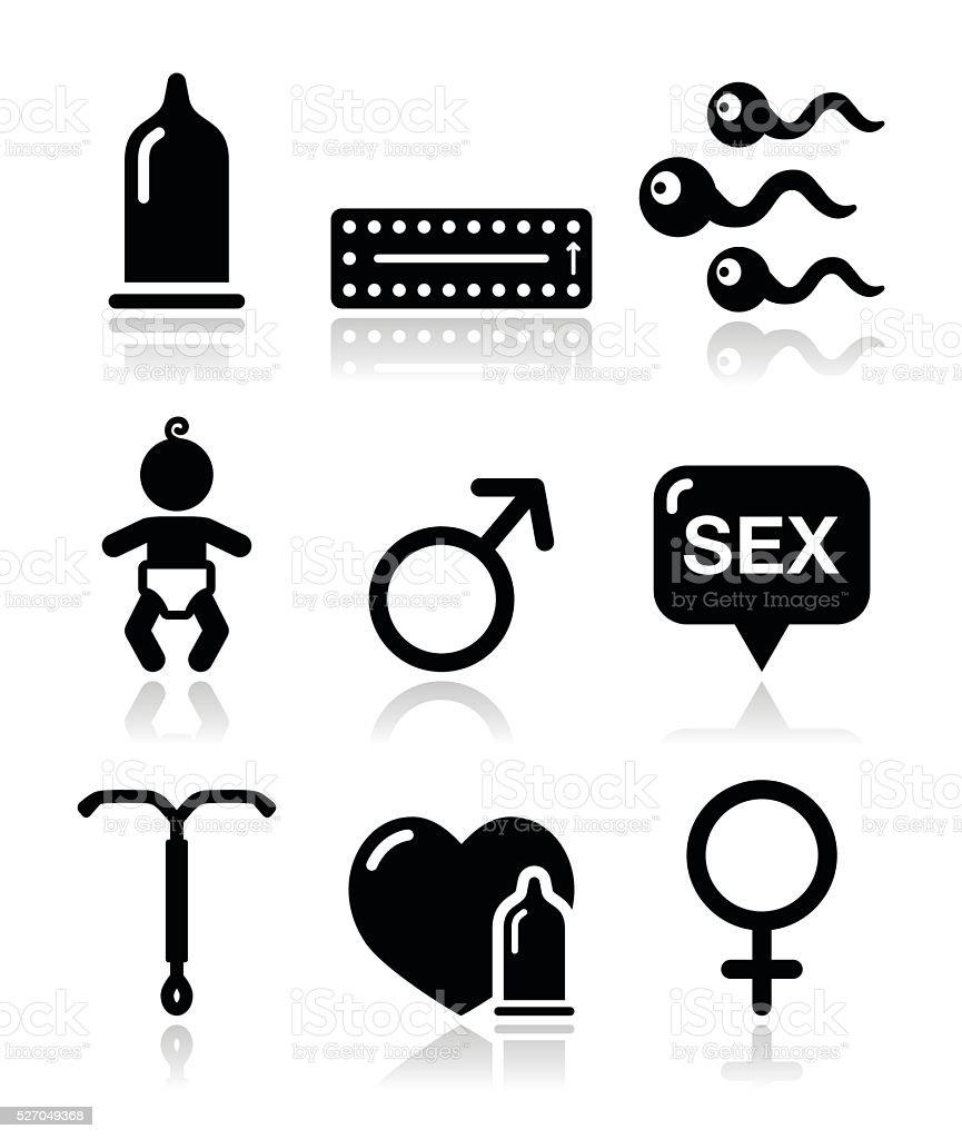 Contraception methods, sex vector icons sex vector art illustration