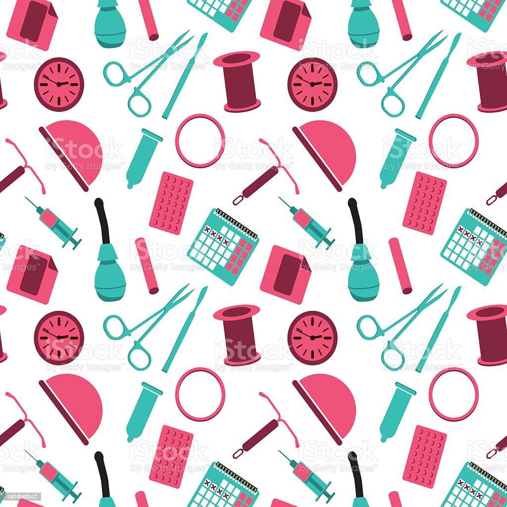 Contraception - vector seamless background vector art illustration