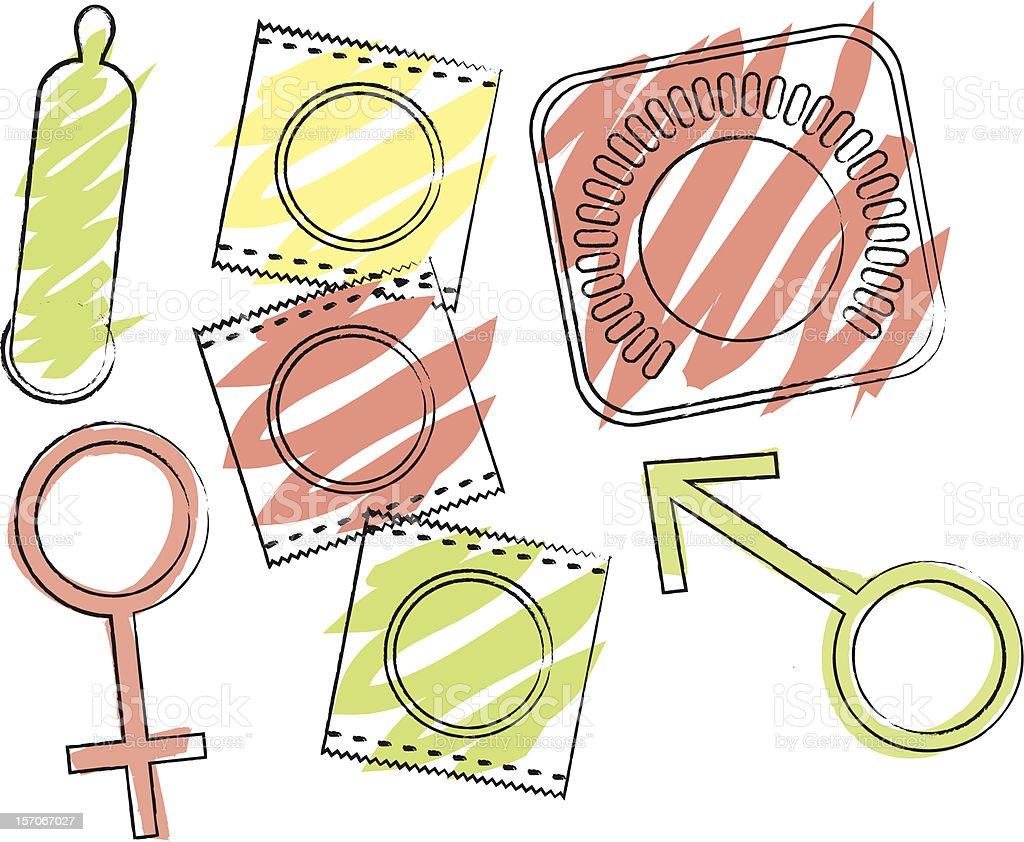 Contraceptive Set royalty-free stock vector art