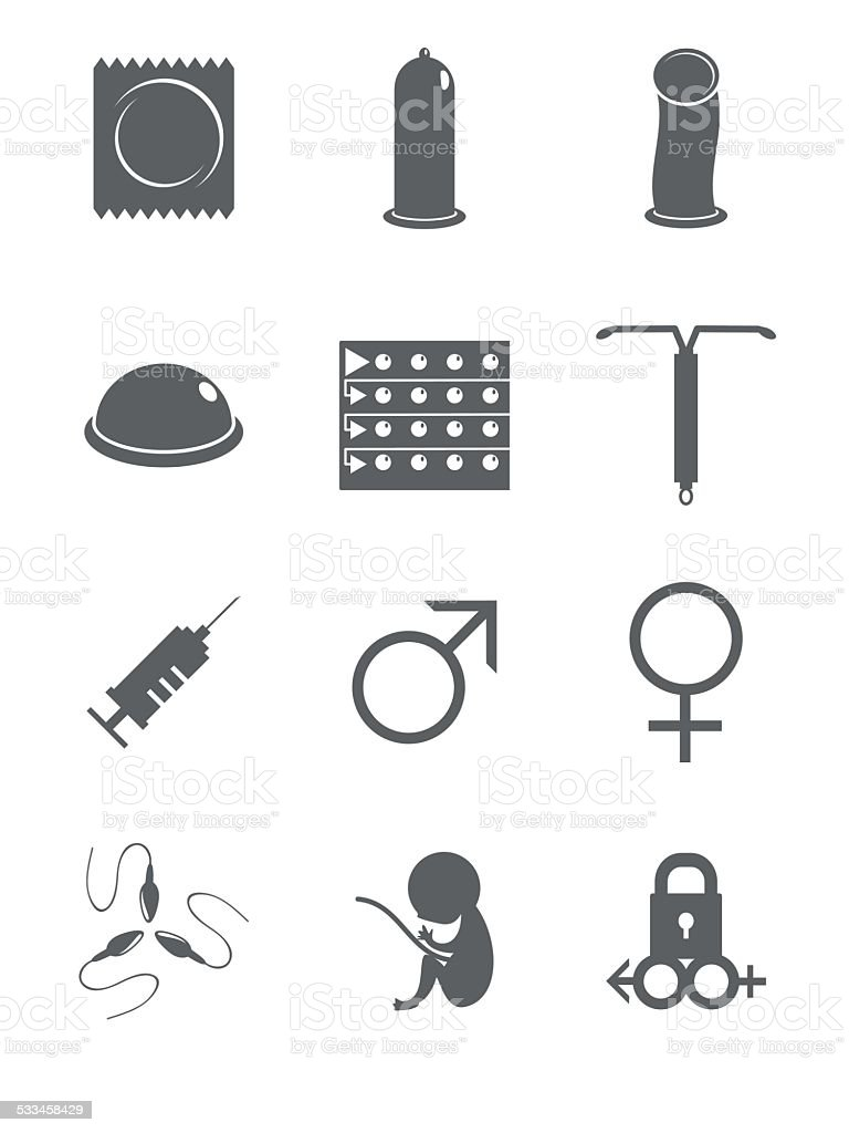 Contraceptive, sex icons vector art illustration