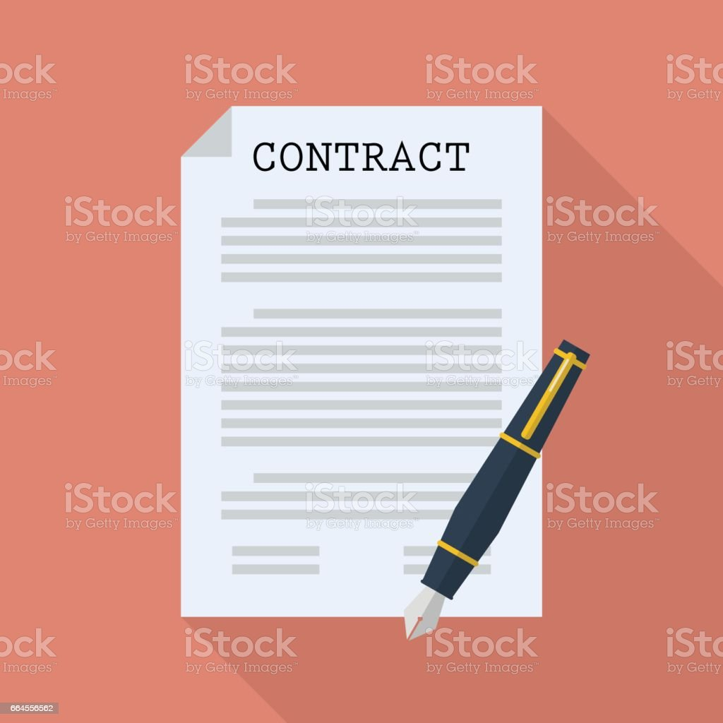 Contract document paper with pen vector art illustration