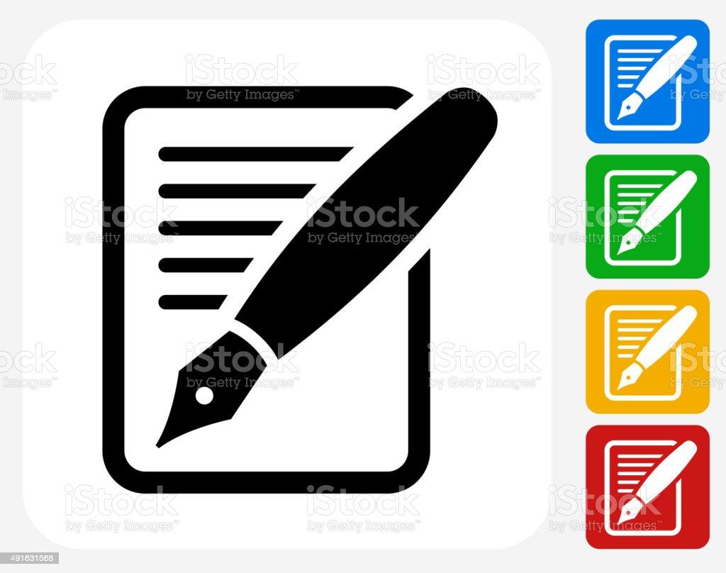 Contract Icon Flat Graphic Design vector art illustration