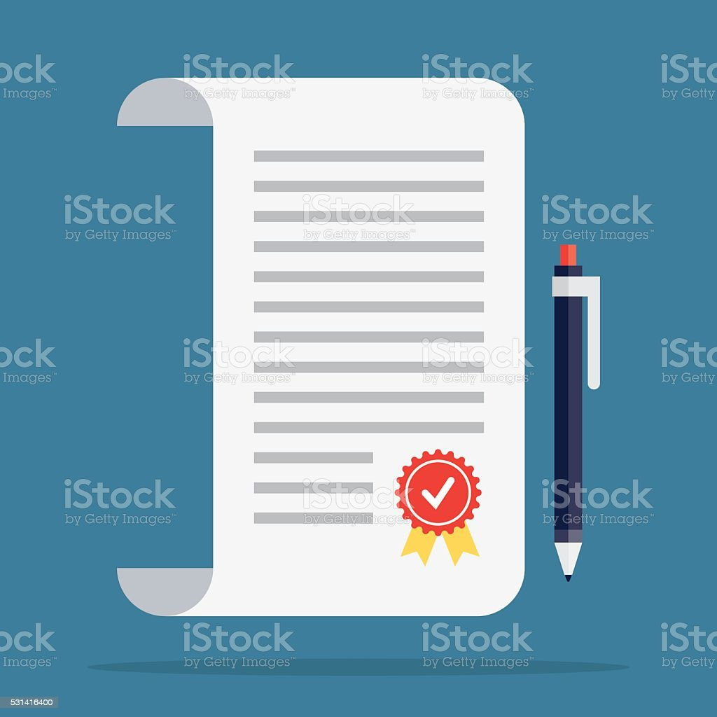 Contract icon in a flat style. vector art illustration