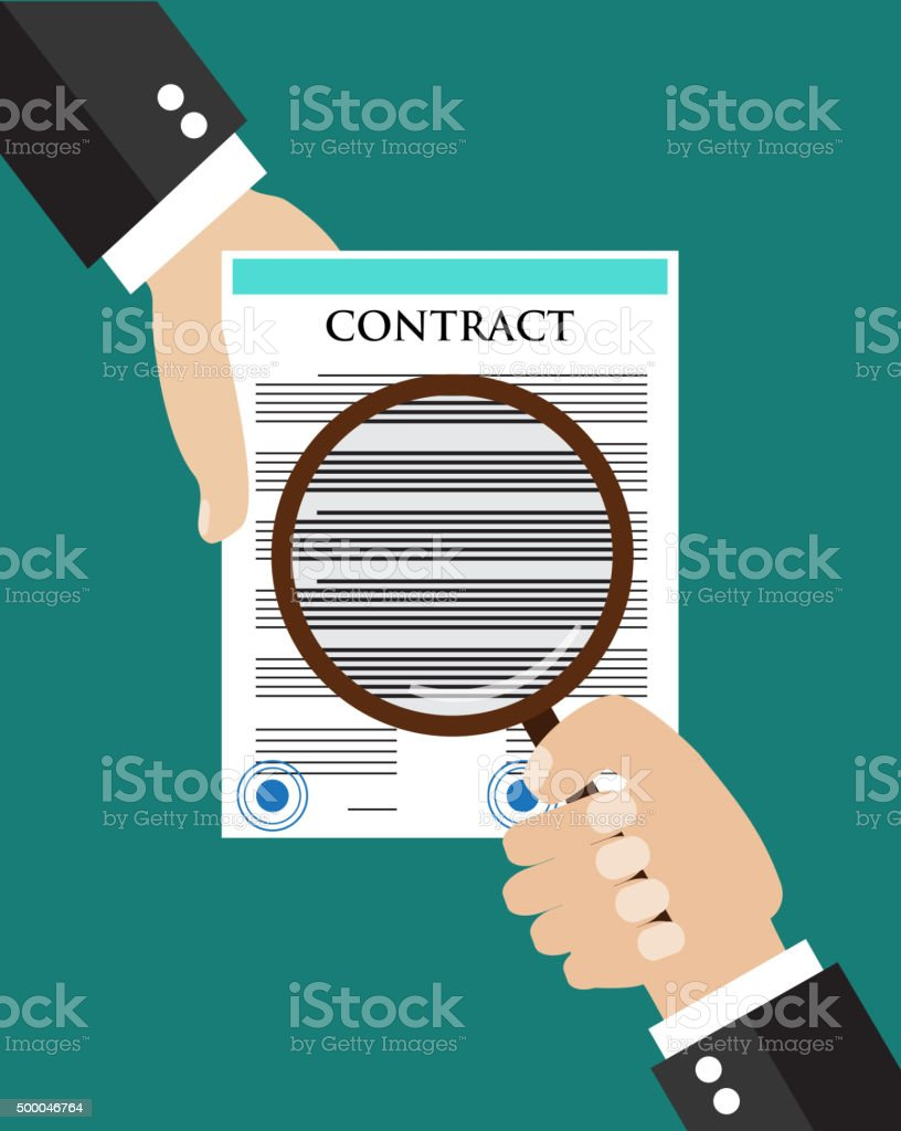 Contract inspection concept. vector art illustration