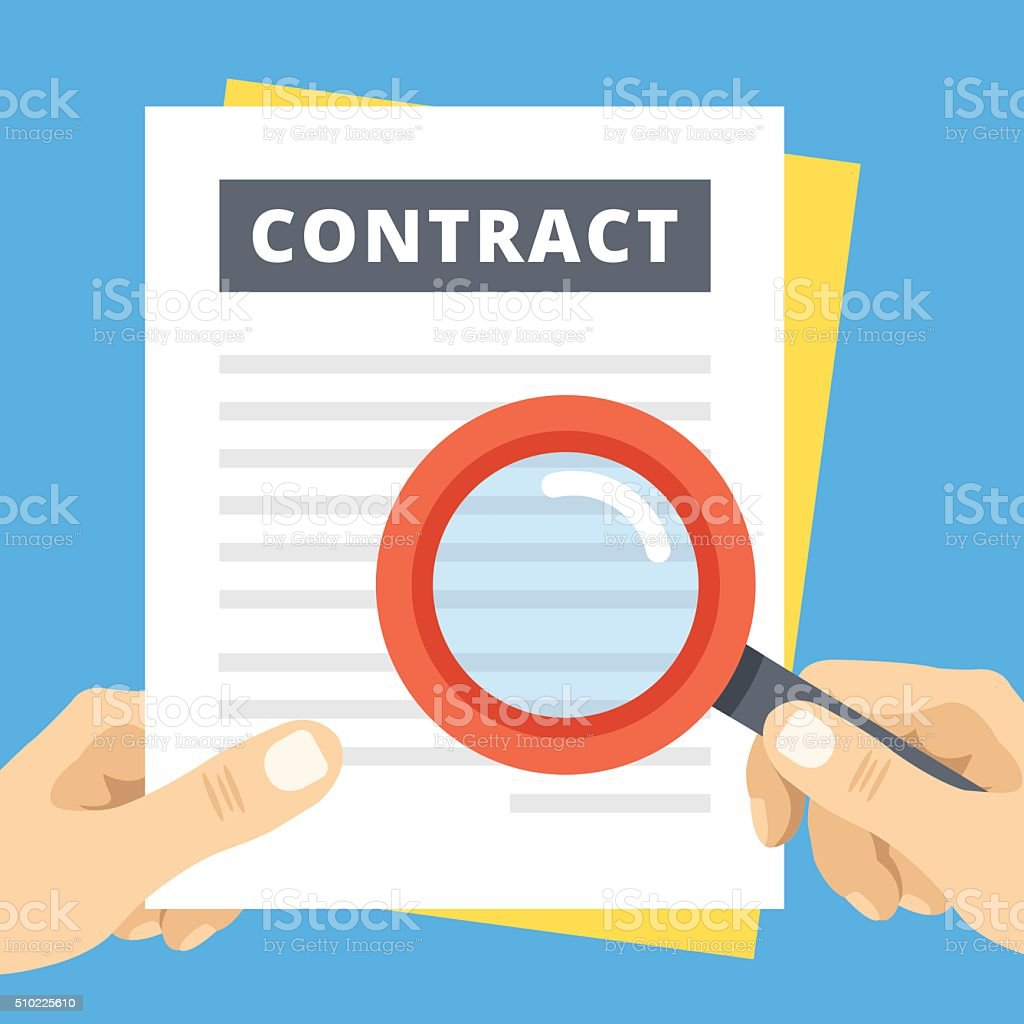 Contract review flat illustration. Hand with magnifier over contract page vector art illustration