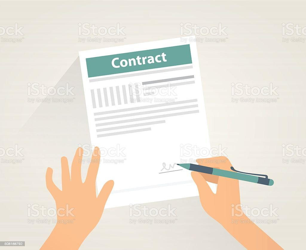 Contract signing vector art illustration
