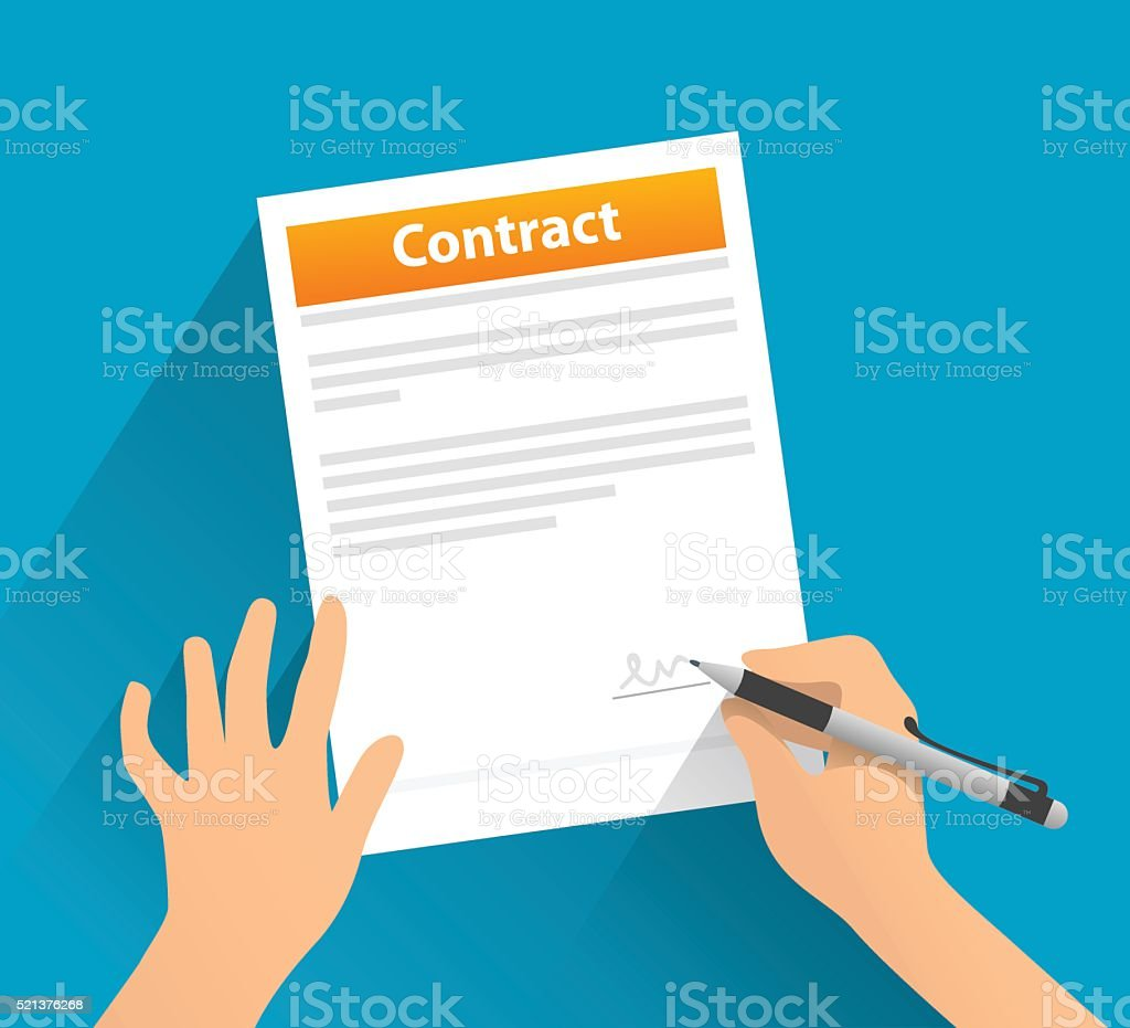 Contract with signature vector art illustration