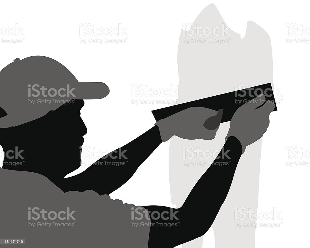Contractor plasterer vector art illustration