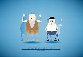 Contrast collection, vector elder and adult cartoon