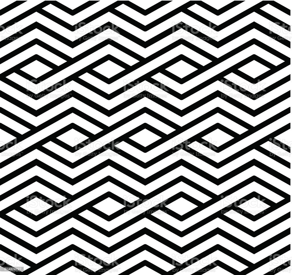 Contrast geometric seamless pattern with symmetric ornament. vector art illustration