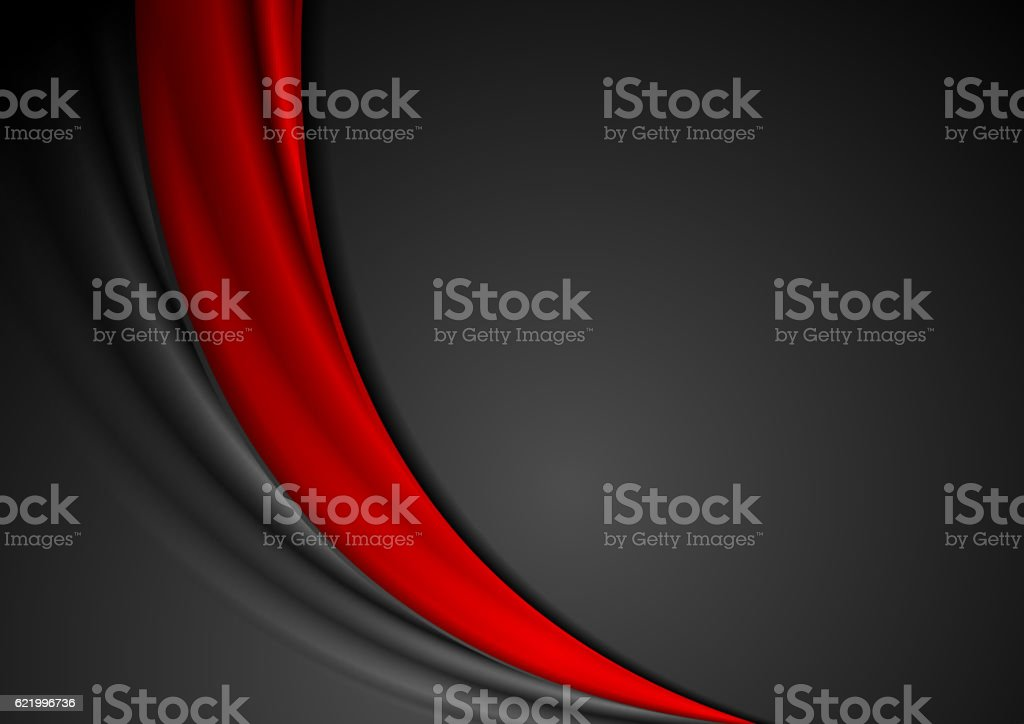 Contrast red black abstract wavy background vector art illustration