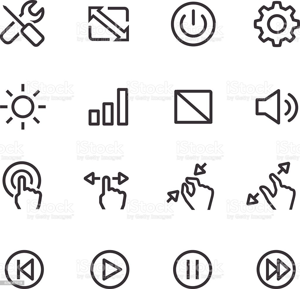 Control Icons - Line Series vector art illustration