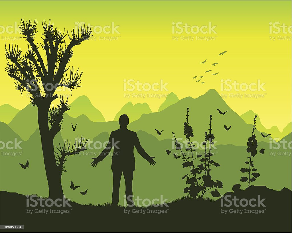 Control in the mountains royalty-free stock vector art