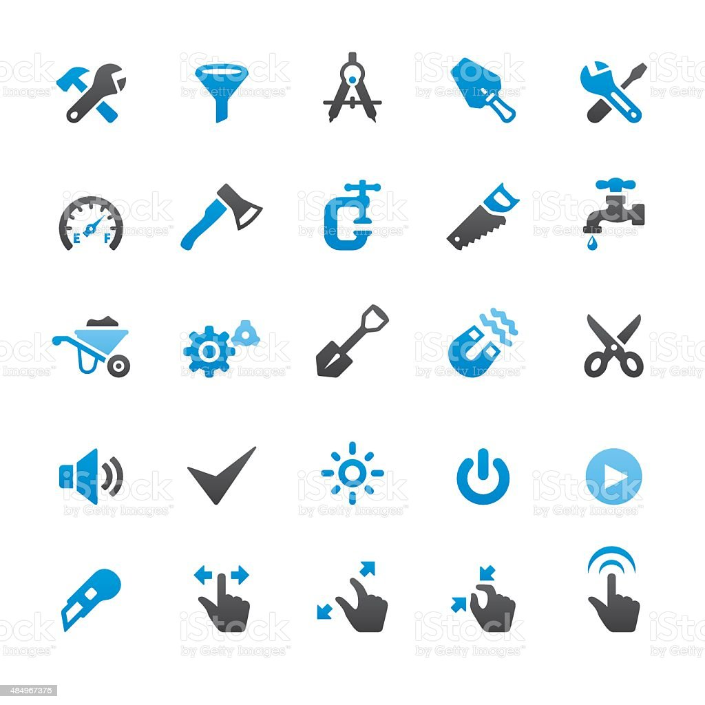 Control Panel and Settings related vector icons vector art illustration