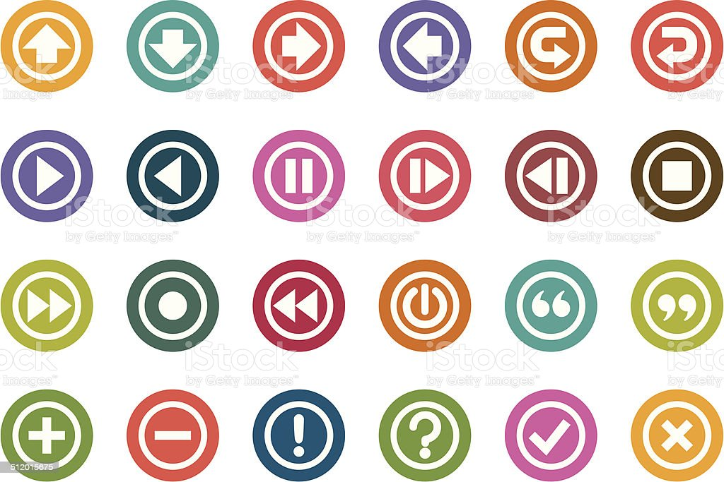 Control Panel Color Icons vector art illustration