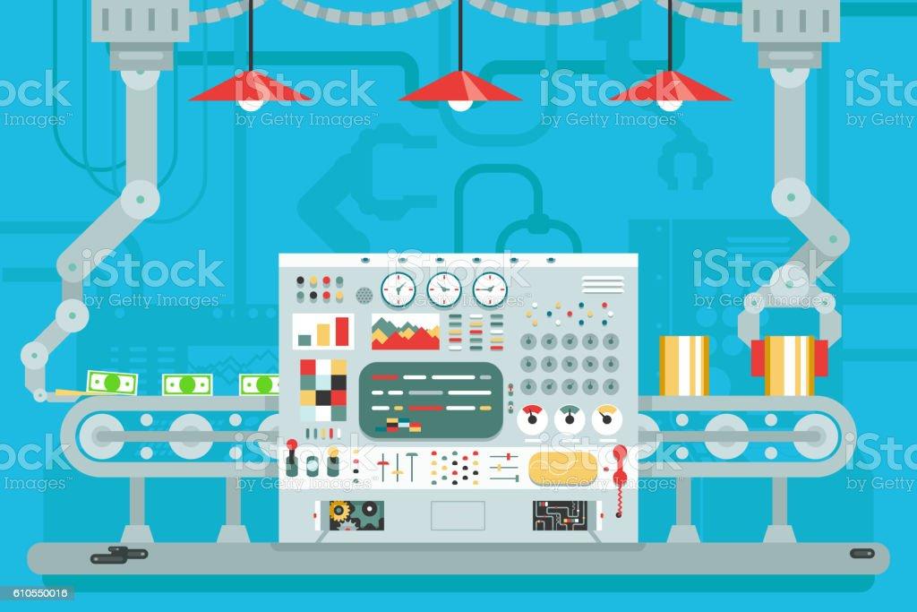 Control panel conveyor robot manipulators production development flat design concept vector art illustration