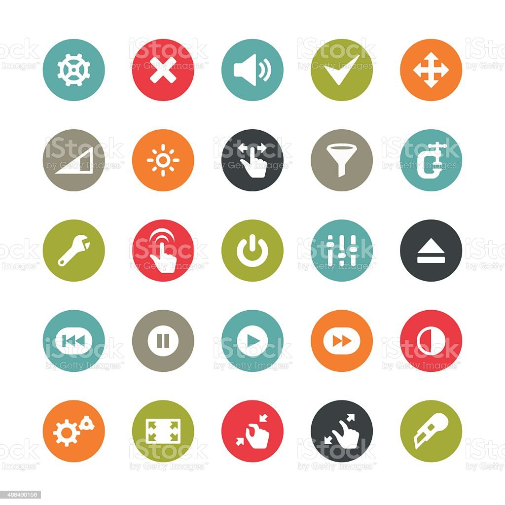 Control panel tools icons / Ringico series vector art illustration