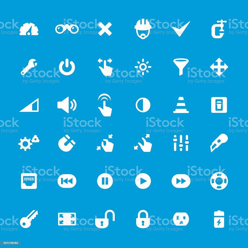 Control Panel Tools vector icons set vector art illustration
