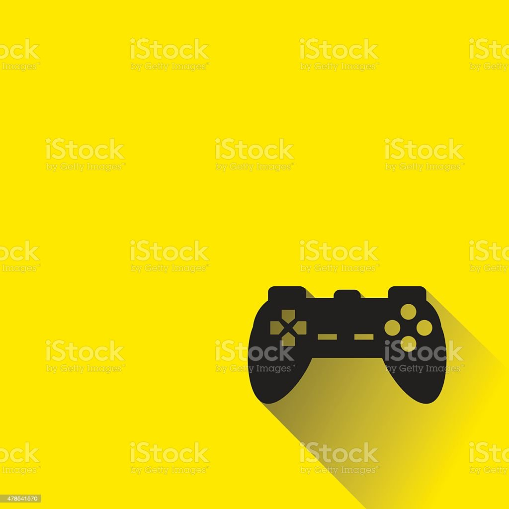 controller joystick icon with long shadow. vector art illustration