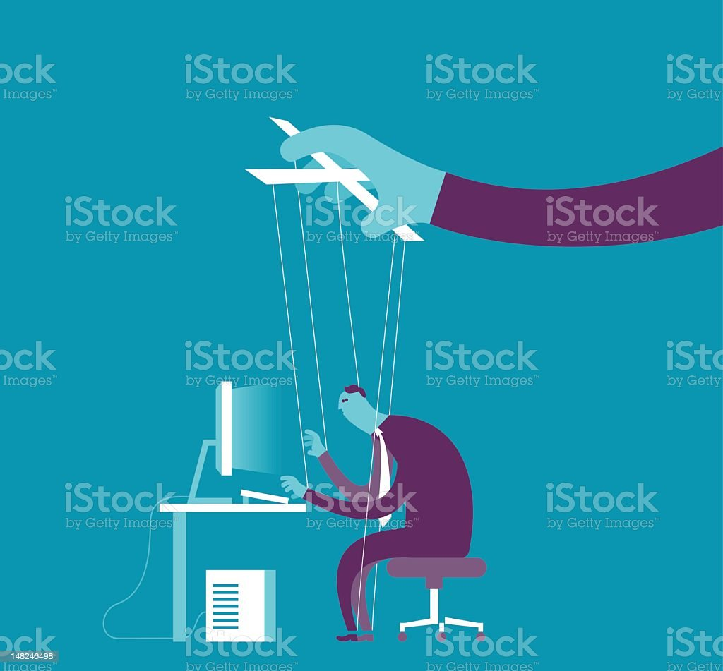 Controlling business puppet concept stock photo