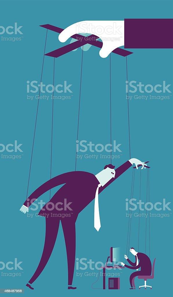 Controlling business puppet concept vector art illustration