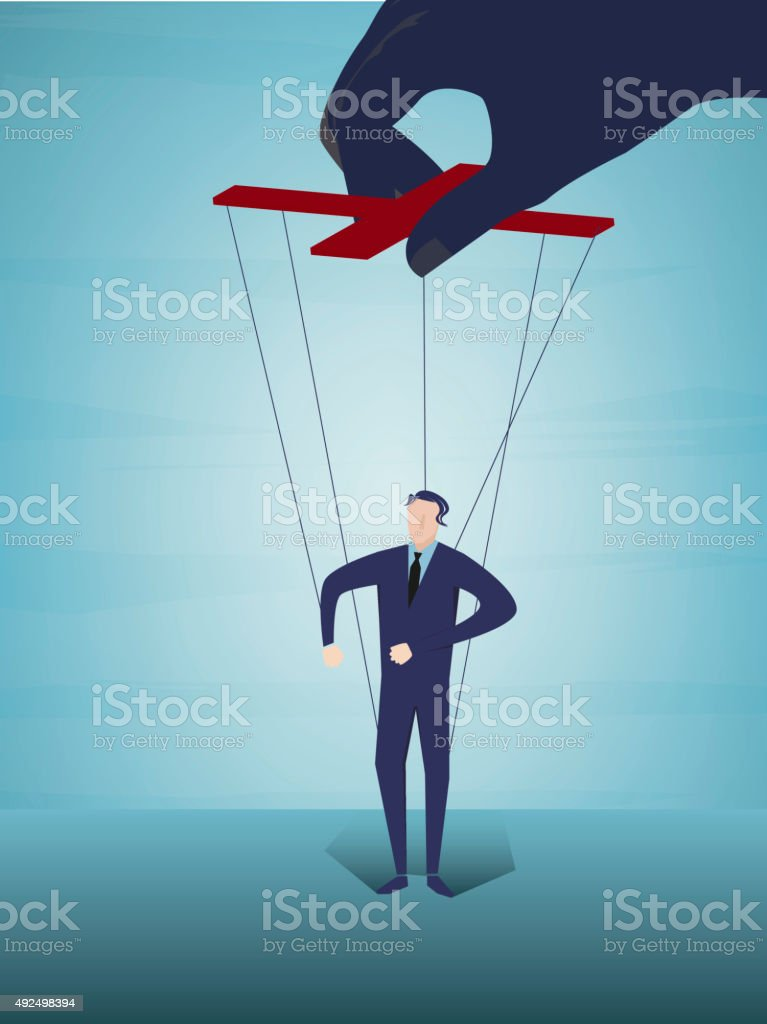 Controlling business puppet concept vector art illustration