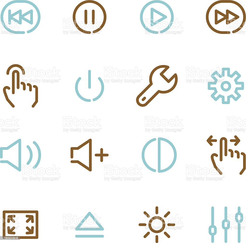 Controls Icons - Line Color Series royalty-free stock vector art