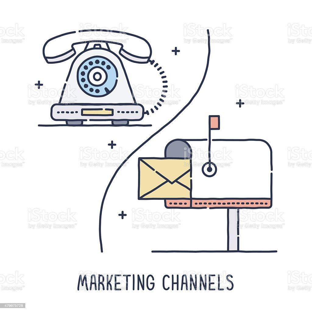 Conventional Marketing Channels vector art illustration