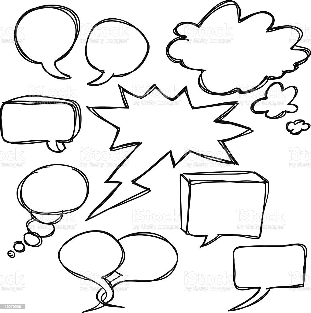 Conversation bubble in black and white royalty-free stock vector art
