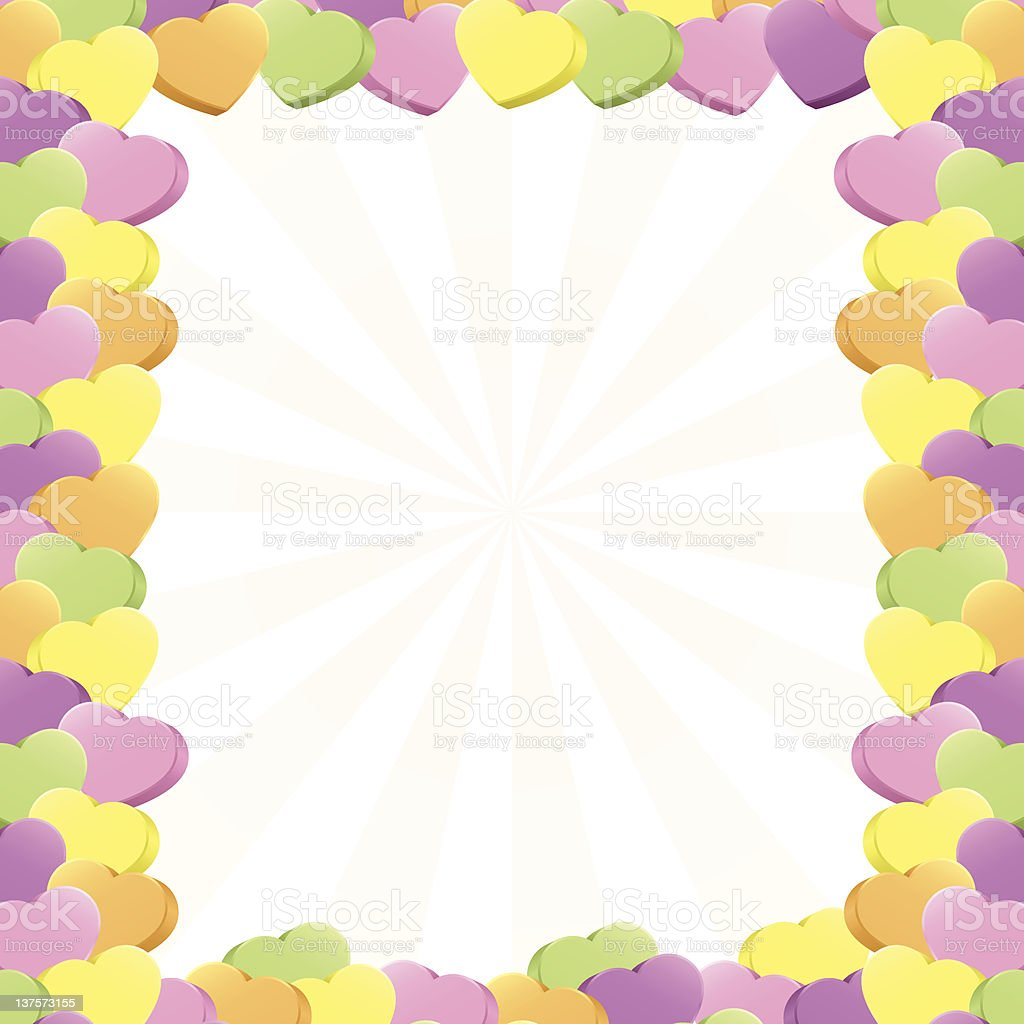 Conversation Hearts Border vector art illustration