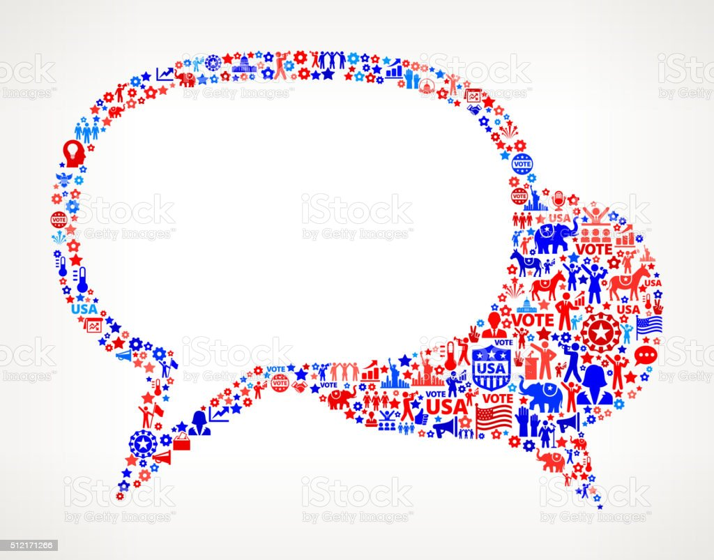 Conversation Vote and Elections USA Patriotic Icon Pattern vector art illustration