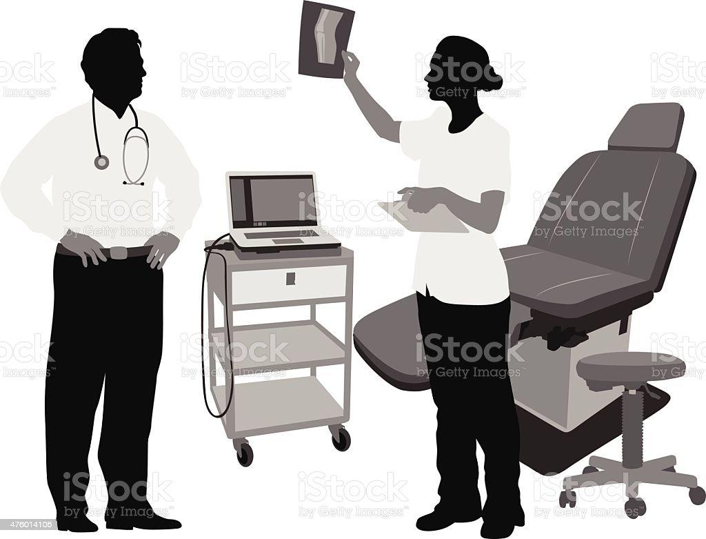 Conversing Medicine vector art illustration