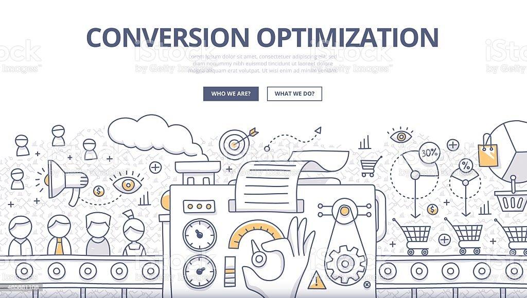 Conversion Optimization Doodle Concept vector art illustration