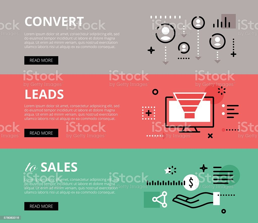 Convert Leads to Sales. Web banners vector set vector art illustration