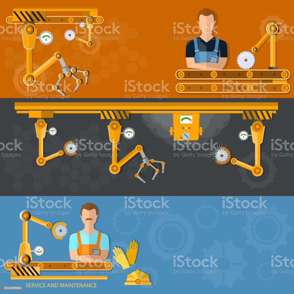 Conveyor banners automation of labor conveyor belt vector art illustration