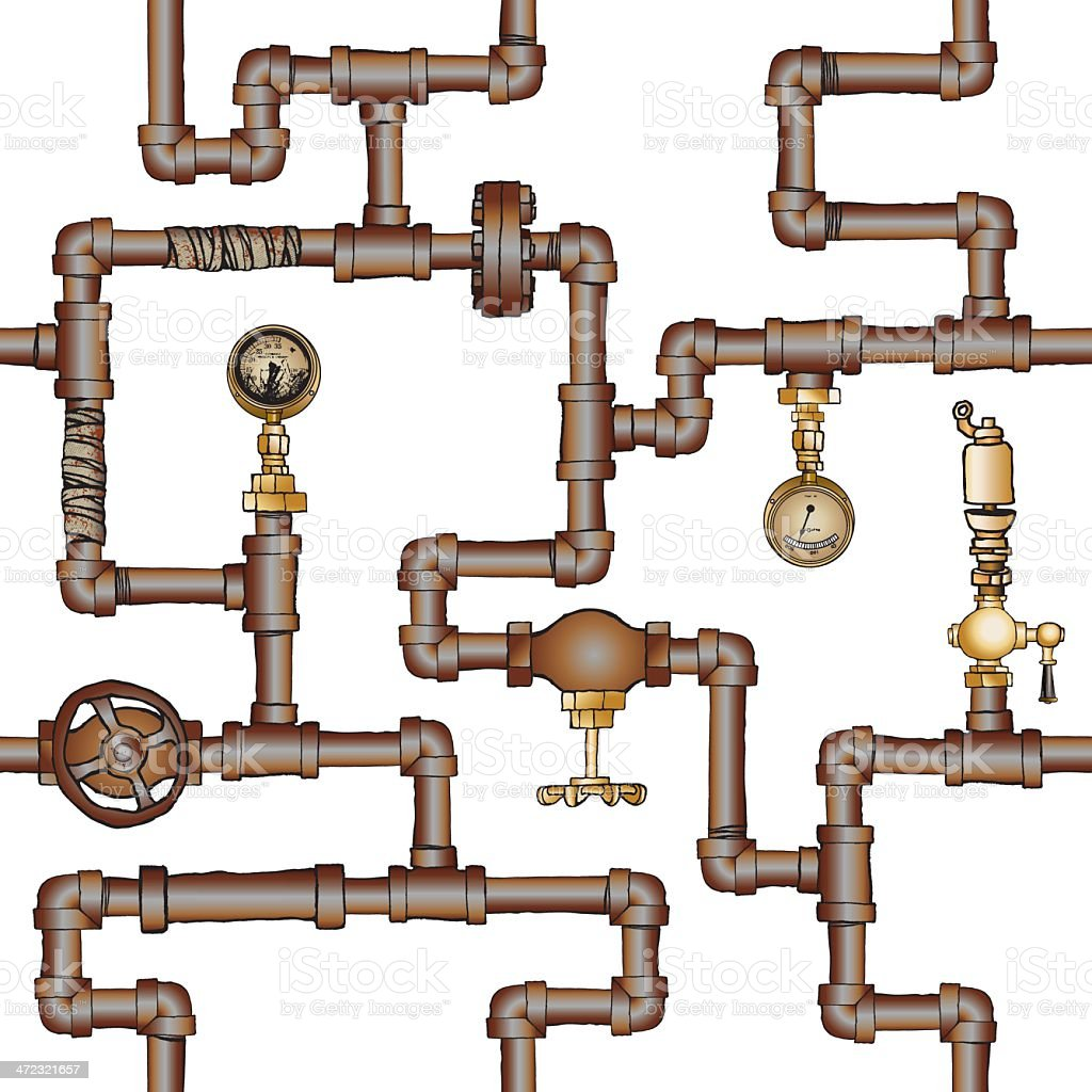 Convoluted Pipes & Valves vector art illustration