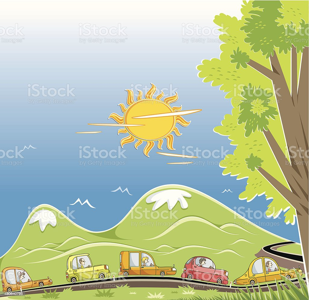 convoy on the highway (day) royalty-free stock vector art