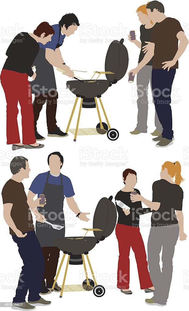 Cook and his friends together at a barbecue party royalty-free stock vector art