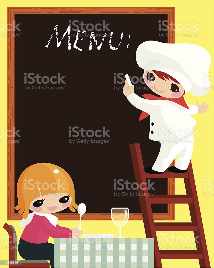 Cook and visitor. royalty-free stock vector art
