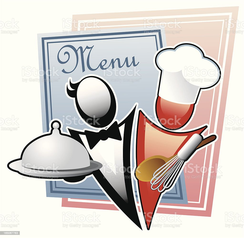 Cook and waiter vector art illustration