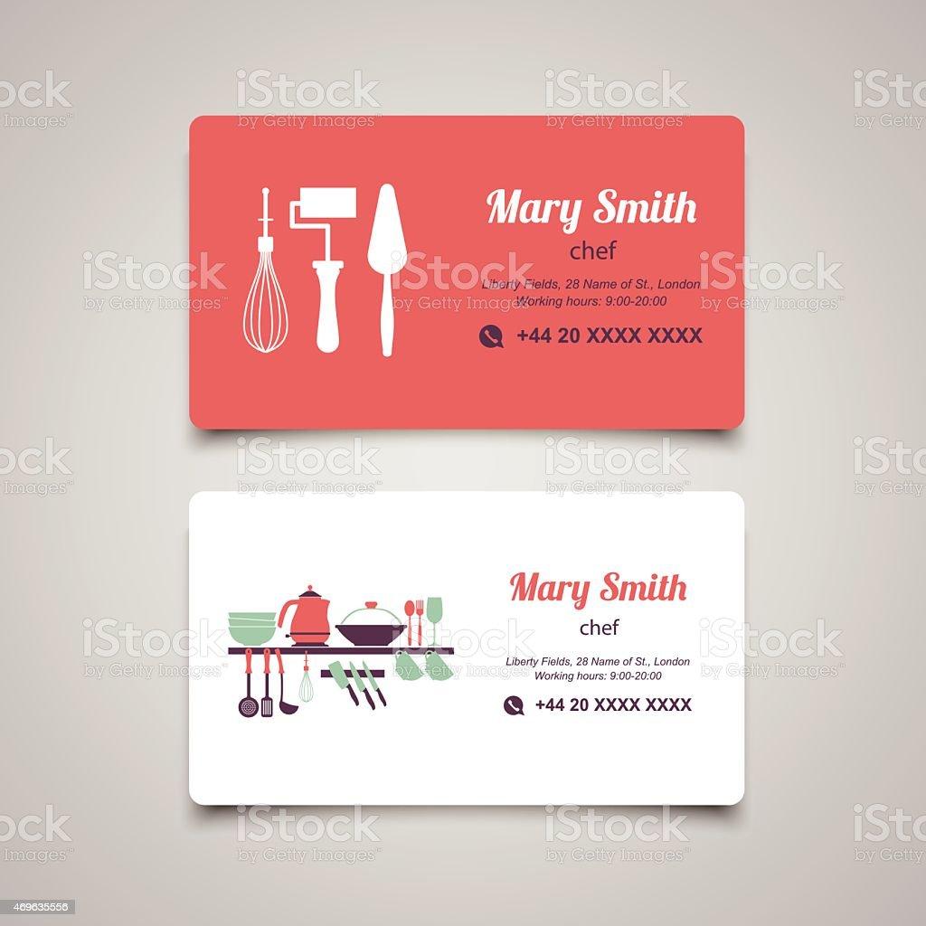 Cook business card design vector template vector art illustration