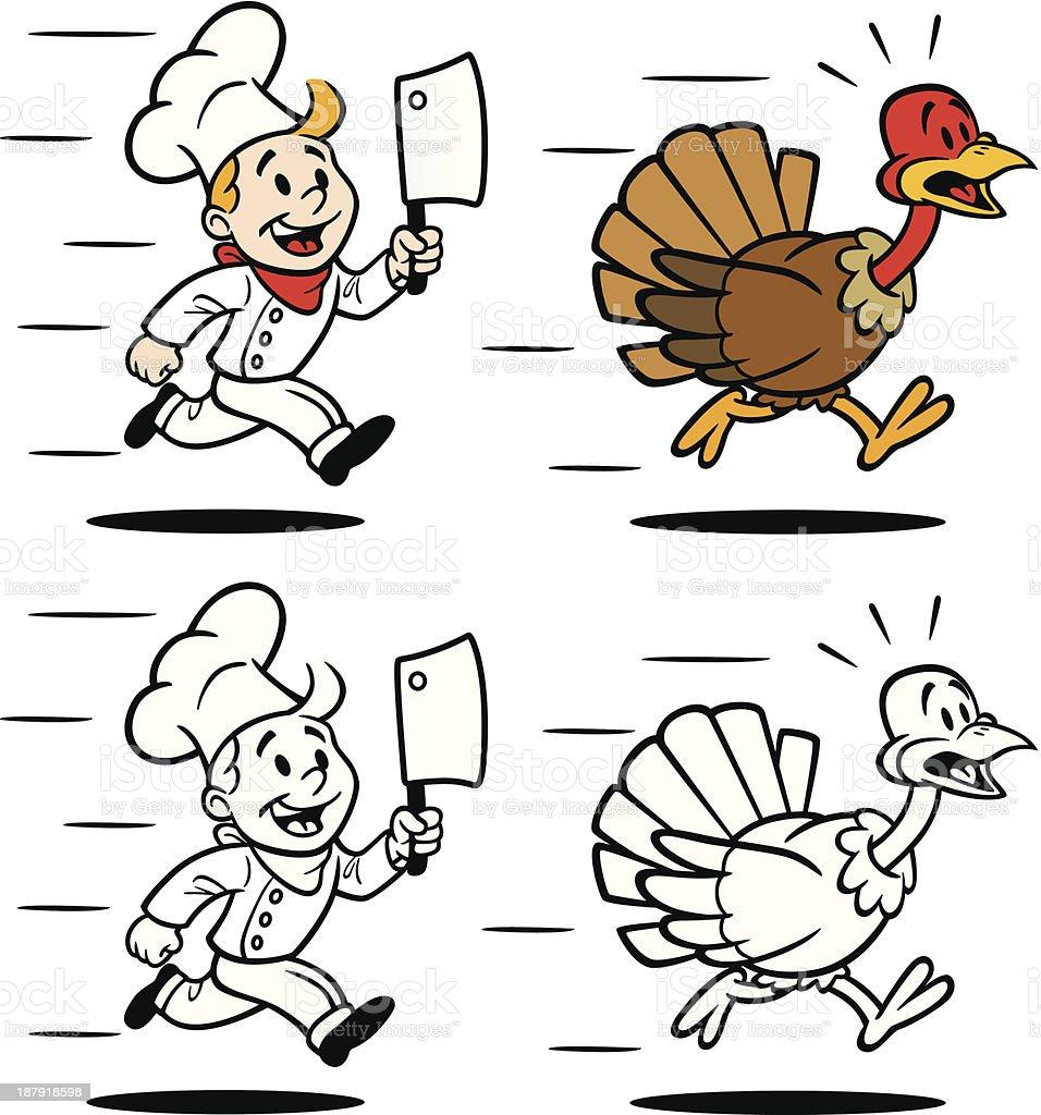Cook Chasing Turkey vector art illustration