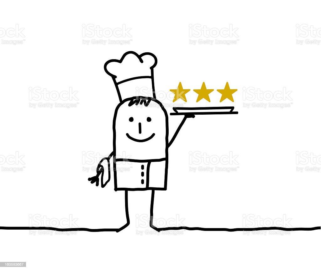 cook chef & three stars vector art illustration