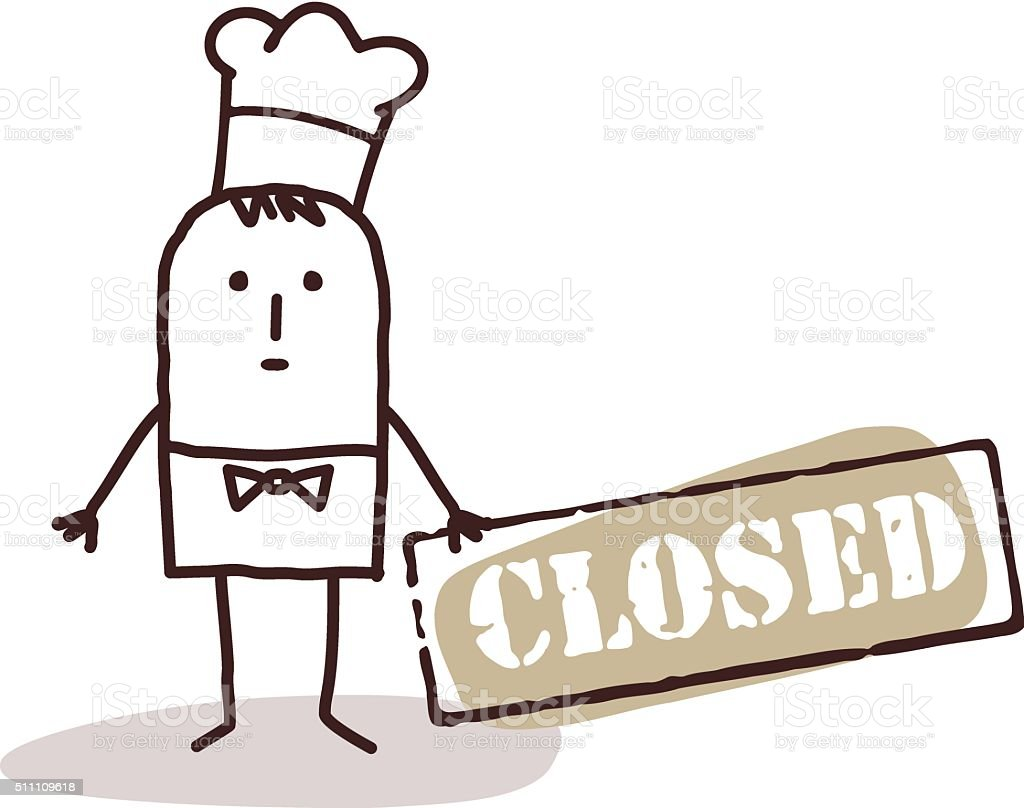 cook chef with closed sign vector art illustration