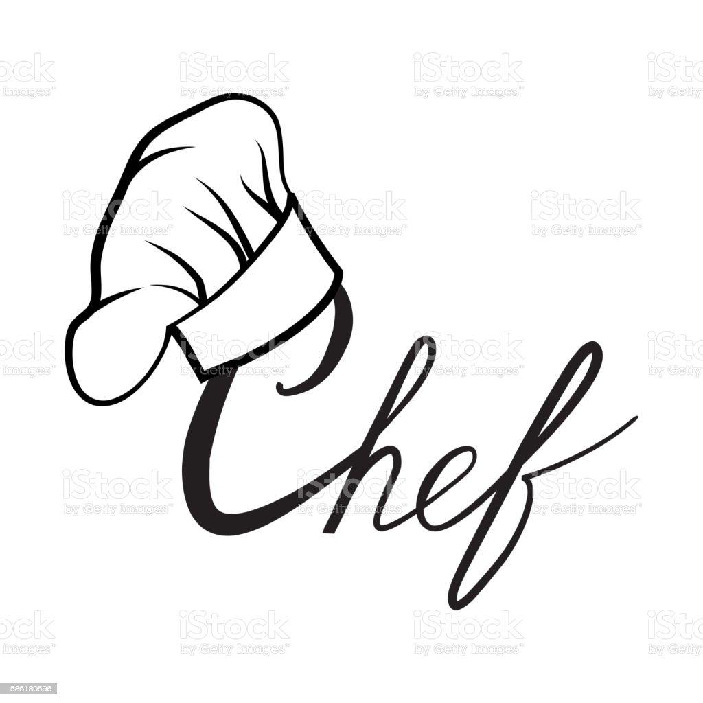 Cook hat. Drawn hat chef cook label vector art illustration