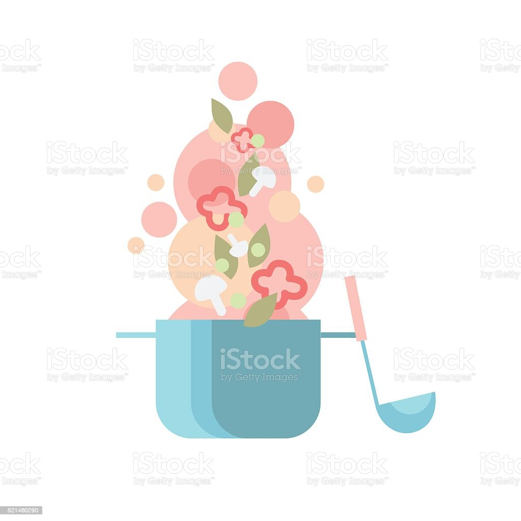 Cook Kitchen Pan Soup Ladle With Vegetables vector art illustration