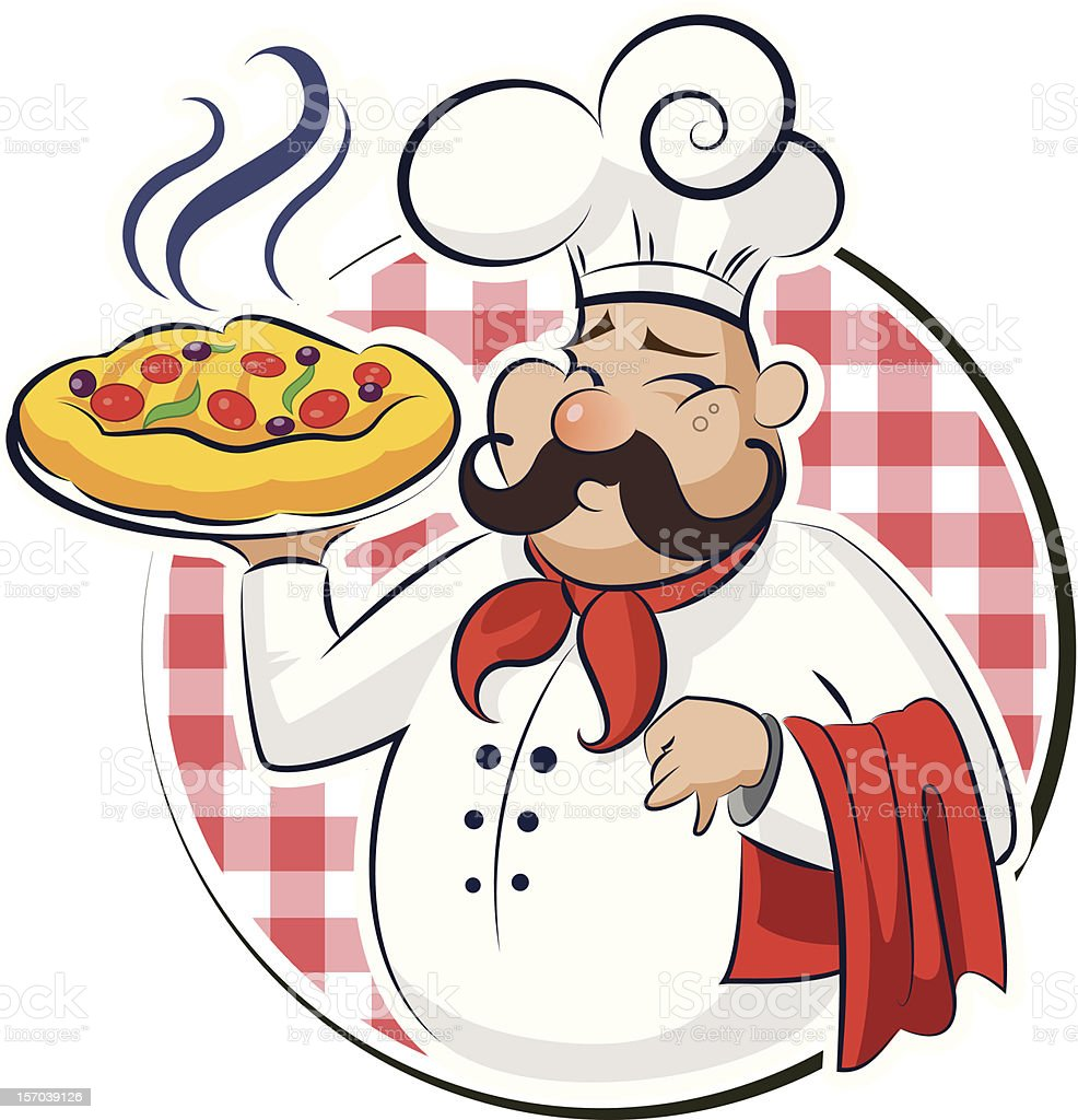 Cook Pizza royalty-free stock vector art