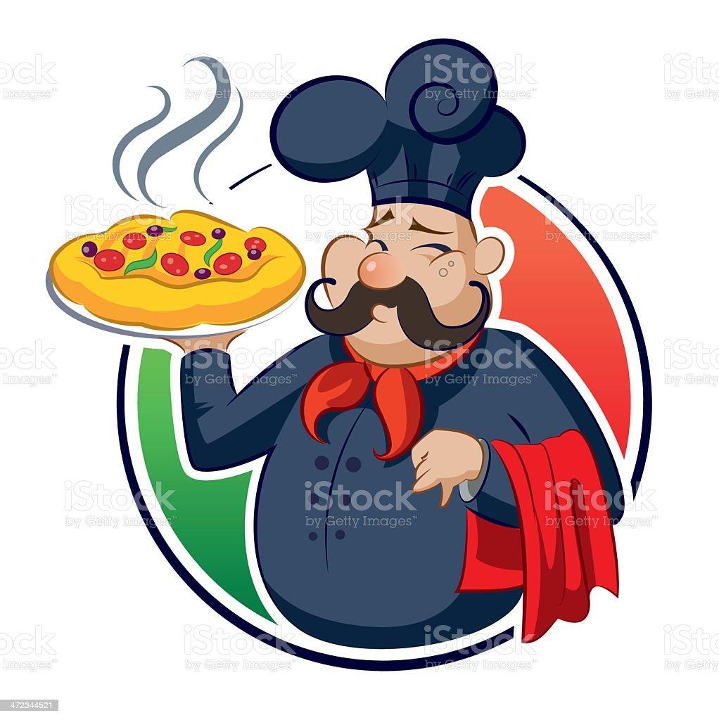 cucinare pizza illustrazione royalty free