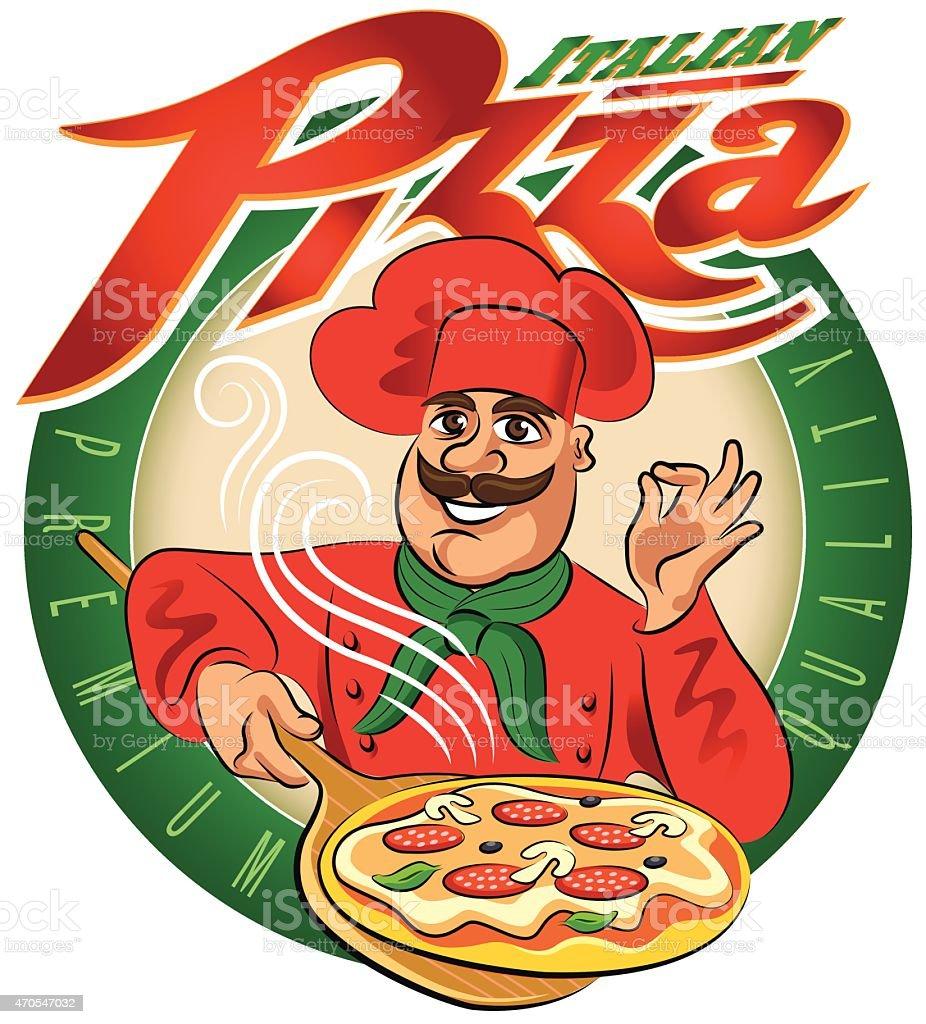 cucinare pizza illustrazione vettoriale isolato su sfondo bianco illustrazione royalty free