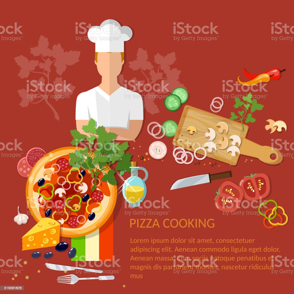 cucinare pizzeria pizza ingredienti su sfondo rosso illustrazione royalty free